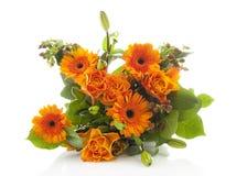 Boeket van oranje bloemen stock afbeeldingen