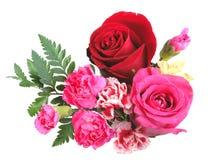 Boeket van oranje, roze en rode bloemen Stock Foto's