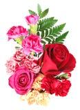 Boeket van oranje, roze en rode bloemen Stock Afbeeldingen