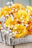 Boeket van oranje rozen, exemplaarruimte Royalty-vrije Stock Afbeelding