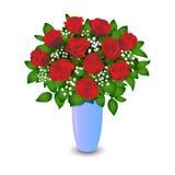 Boeket van rode rozen die op witte achtergrond worden geïsoleerdn Realistische vector Royalty-vrije Stock Fotografie