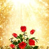 Boeket van rode rozen en tulpen met groene bladeren en linten Royalty-vrije Stock Foto's