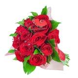 Boeket van rode rozen geïsoleerdr op witte backg Royalty-vrije Stock Foto's