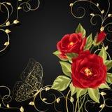 Boeket van rode rozen met gouden buttetfly Royalty-vrije Stock Fotografie