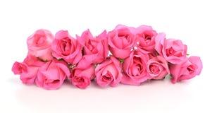 Boeket van roze die rozen op witte achtergrond worden geïsoleerd Stock Afbeelding