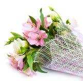 Boeket van roze en groene bloemen royalty-vrije stock foto's