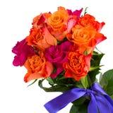 Boeket van roze en oranje rozen Stock Foto's
