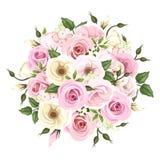 Boeket van roze en witte rozen en lisianthusbloemen Vector illustratie Stock Foto's