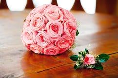 Boeket van roze rozen Stock Foto