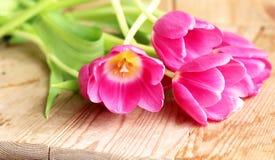 Boeket van roze tulpen over houten lijst Van de de kaart de gelukkige moeder van de de lentegroet ruimte van het de dagexemplaar stock foto's