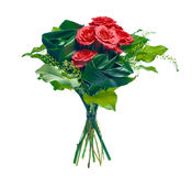 Boeket van rozen en bladeren Royalty-vrije Stock Fotografie
