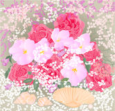Boeket van rozen en orchideeën met mosselenvector Stock Afbeelding