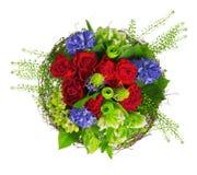 Boeket van rozen, hyacinthus en greens Stock Afbeelding