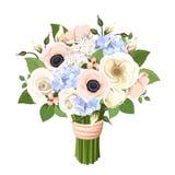 Boeket van rozen, lisianthus, anemonen en hydrangea hortensiabloemen Vector illustratie Stock Foto