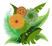 Boeket van tropische bloemen vector illustratie