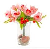 Boeket van tulp en orchidee Stock Afbeelding