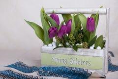 Boeket van tulpen stock afbeeldingen