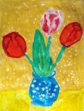 Boeket van tulpen in een blauwe vaas - gouache het schilderen stock illustratie