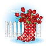 Boeket van tulpen in een mooie stiprubberlaarzen Vector illustratie enkel Geregend Royalty-vrije Stock Afbeelding