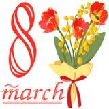 Boeket van tulpen en Mimosa aan 8 Maart stock illustratie