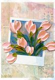 Boeket van tulpen en polaroid royalty-vrije stock foto's