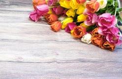 Boeket van vele roze tulpen gele rood en wit en roze Stock Afbeeldingen