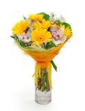 Boeket van verschillende bloemen in vaas Stock Fotografie