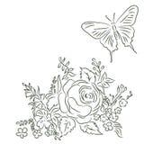 Boeket van verschillende bloemen, vlinder Stock Afbeeldingen