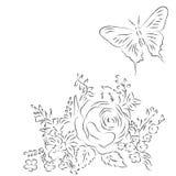 Boeket van verschillende bloemen, vlinder Stock Foto