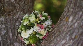 Boeket van verse rozen Huwelijksboeket in het park dichtbij de boom Slowmo stock footage