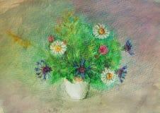Boeket van wildflowers Waterverf en waspotloden Royalty-vrije Stock Afbeelding