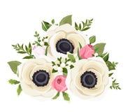 Boeket van witte anemoonbloemen en roze rosebuds Vector illustratie Stock Afbeeldingen