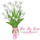 Boeket van witte die tulpen met een inschrijving voor mijn liefde worden geïsoleerd vector illustratie