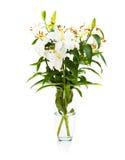 Boeket van witte lelies in geïsoleerde glasvaas royalty-vrije stock afbeeldingen
