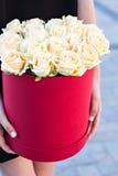 Boeket van witte rozen Stock Foto