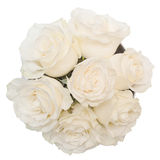 Boeket van witte rozen in de witte die doos op witte achtergrond wordt geïsoleerd Stock Fotografie