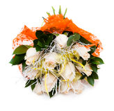 Boeket van witte rozen in vaas royalty-vrije stock foto
