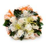 Boeket van witte rozen in vaas royalty-vrije stock fotografie