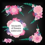Boeketten van bloemenwaterverf Royalty-vrije Stock Foto's