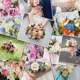 Boeketten van het collage de vastgestelde huwelijk Huwelijksceremonie en verse bloemen in handen van bruid Inzameling van mooie h stock fotografie