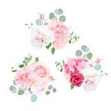 Boeketten van roze, pioen, camelia, hydrangea hortensia en eucalyptus vector illustratie