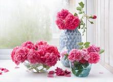 Boeketten van roze rozen in verschillende vazen stock afbeeldingen