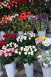 Boeketten van rozen op de markt Stock Afbeelding