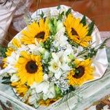 Boeketten van zonnebloemen Royalty-vrije Stock Foto's