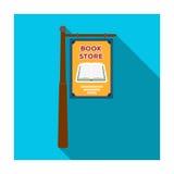 Boekhandelsignage pictogram in vlakke die stijl op witte achtergrond wordt geïsoleerd Bibliotheek en boekhandel de vector van de  stock illustratie