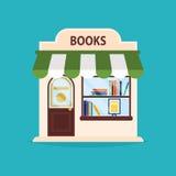 Boekhandelvoorgevel Vectorillustratie van de boekhandelbouw Royalty-vrije Stock Foto