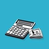 Boekhouding, calculator met geld Stock Afbeelding