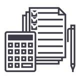 Boekhouding, calculator, pen, checkbox, vector de lijnpictogram van doc., teken, illustratie op achtergrond, editable slagen stock illustratie