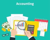 Boekhouding Zakenmanboekhouding, planningsstrategie, analyse, marketing onderzoek, financieel beheer Zaken vector illustratie