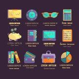 Boekhoudings vector vlakke pictogrammen Royalty-vrije Stock Afbeeldingen
